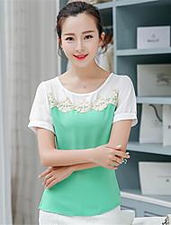 Damen Patchwork T-shirt - Polyester Kurzarm Rundhalsausschnitt