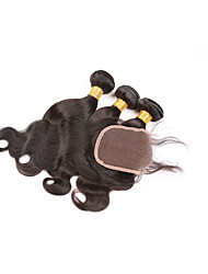 Brazilian Virgin Hair Body Wave With Closure3 Bundles Human Hair With Closure Brazilian Virgin Hair With Closure