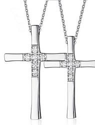 Муж. Женский Ожерелья с подвесками Кулоны Крестообразной формы Титановая сталь Искусственный бриллиант европейский Крест Pоскошные