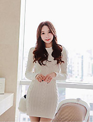 Women's Simple Solid Sweater Dress,Round Neck Above Knee Cotton / Polyester