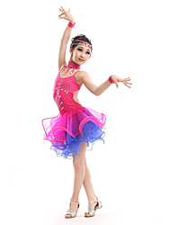 Latin Dance Dresses Children's Performance Spandex / Polyester Fashion Rhinestones Dance Costumes