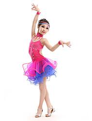 Dança Latina Vestidos Crianças Actuação Elastano / Poliéster Cristal/Strass 5 Peças Sem Mangas Alto Luvas / Vestidos / Neckwear / Tiaras
