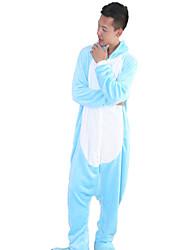 Kigurumi Pyjamas Nilpferd Gymnastikanzug/Einteiler Fest/Feiertage Tiernachtwäsche Halloween Blau Patchwork Korallenfleece Kigurumi Für