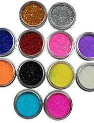 12Pcs Colors Glitter Powder Nail Art Decoration