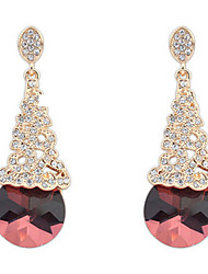 Western Style Red Crystal Rhinestone Bridal Accessories Fashion Earrings Valentine's Day gift