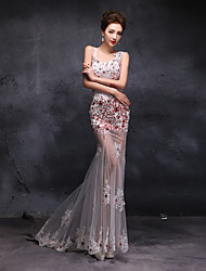 Formal Evening Dress Trumpet / Mermaid Sweetheart Sweep / Brush Train Lace / Tulle with Beading / Lace