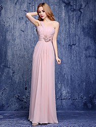 Floor-length Chiffon Bridesmaid Dress A-line One Shoulder
