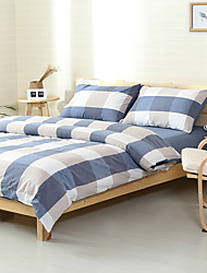 Comfortable plaid Washed Cotton Bedding Sets Queen King Size Bedlinens 4pcs Duvet Cover Set