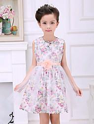 Girl's Green / Pink Dress,Floral Cotton Summer