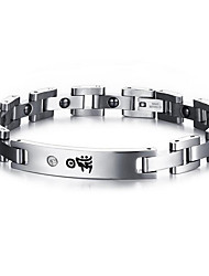Magnetic Therapy Bracelet Men's Jewelry Health CarePrint Silver Stainless Steel Bracelet