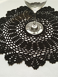 6pcs Per Set 40cm Round Handmade Crochet Table Doilies Black/White/Beige