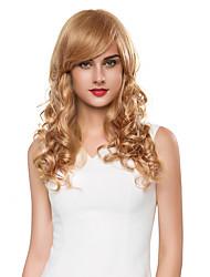pelucheux capless vague naturelle de cheveux humains remy la main de la femme liée perruque -top