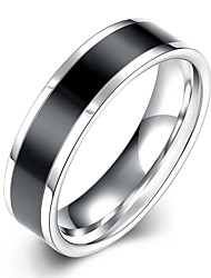 lureme® Unisex High Quality Stainless Steel with Black Line in Middle Polished Ring