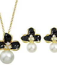 Pearl Enamel Flower Necklace Earrings Fashion Jewelry Set