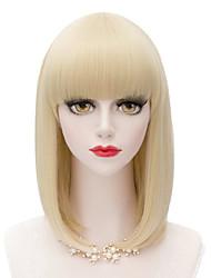 couleur blond milieu cheveux raides perruque synthétique européenne