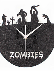 Black Sand Record Zombie Cemetery Wall Clock