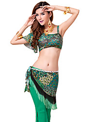 Belly Dance Outfits Women's Training Lace / Milk Fiber Pattern/Print 3 Pieces Sleeveless / Short Sleeve Natural Pants / Top / Hip Scarf