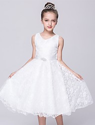 A-line Tea-length Flower Girl Dress - Lace / Satin Sleeveless V-neck with