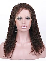 """non transformés 8 """"-28"""" cheveux brésiliens naturels couleur noire crépus frisés 130% dentelle de densité avant perruques de cheveux"""