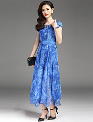 De las mujeres Corte Swing Vestido Casual/Diario / Tallas Grandes Chic de Calle,Estampado Escote Redondo Midi Manga Corta Azul / Verde