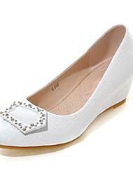 Women's Spring / Summer / Fall Wedges Leather Wedding / Dress / Casual / Party & Evening Wedge Heel Pink / White