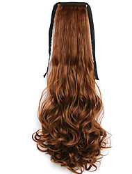 Brown Water Wave Long Curly Hair Wig Style Pony Tail Bandage Ponytails