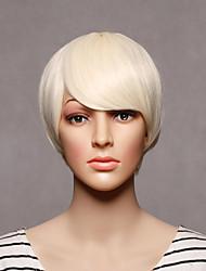 sin tapa corta de color rubio recta para mujer sintéticas pelucas sintéticas