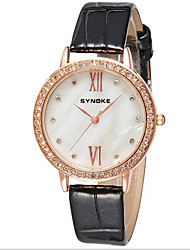 SYNOKE Women's Fashion Watch Simulated Diamond Watch Casual Watch Quartz Japanese Quartz Leather Band Sparkle Black Red Pink
