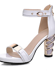 Women's Shoes Suede / Patent Leather Chunky Heel Heels / Open Toe Sandals Office & Career / Party & Evening /White