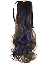 Length Royal Blue Wig Ponytail Curly 55CM Synthetic Deep Wave High Temperature Wire Color Sapphire Blue