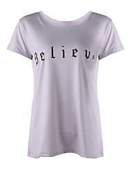 Women's Print Gray T-shirt,Crew Neck Short Sleeve