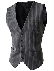 Men's Sleeveless Regular Blazer,Cotton / Acrylic / Polyester Striped 916201
