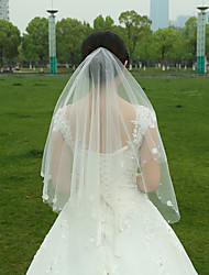 Wedding Veil Two-tier Fingertip Veils Lace Applique Edge / Raw Edge Tulle White