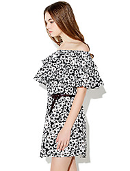 Haoduoyi® Women's Printed Off Shoulder Ruffles Short Sleeve Above Knee Dress (Black)-15151F398