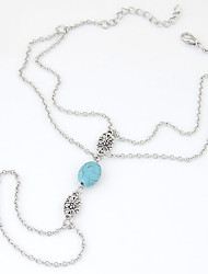 Women's New European Style Fashion Simple Daisy Blue Beads Anklet