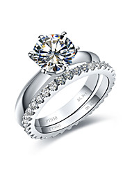 Classical Diamond Rings Set for Women 1.5CT Engagement Ring Solitaire 0.55CT Wedding Band Infinity Steling Silver Rings
