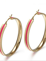 WOMEN Stainless Steel gold  pink Hoop Earrings