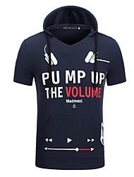 Men's Short Sleeve Hoodie & Sweatshirt,Cotton Print