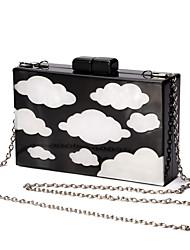 L.WEST Women's Handmade The Blue Sky White Clouds Evening Bag