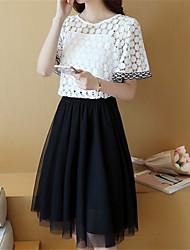 Damen Patchwork Einfach Ausgehen T-shirt,Rundhalsausschnitt Kurzarm Weiß / Grün Polyester Dünn
