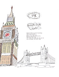 DIY Hand Painted UK Elizabeth Tower Big Ben Wall Stickers