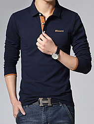 Men's Casual/Work/Formal/Plus Sizes Pure Long Sleeve Regular Polo (Cotton)XKS7B22