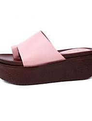 Women's Shoes Flip-flop All Match Flange Solid Wedge Heel Peep Toe / Comfort Slippers Outdoor / Casual