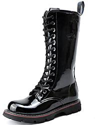 Черный-Мужской-Повседневный Для вечеринки / ужина-Материал на заказ клиента-На толстом каблуке-Модная обувь-Ботинки