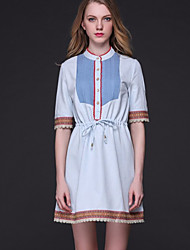 Women's Going out Street chic Shift Dress,Patchwork Stand Above Knee ½ Length Sleeve Blue Polyester Summer