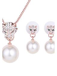 Mujer Collar / pendientes joyería de disfraz Perla Artificial Brillante Rosa Oro Plateado Legierung Collares Pendientes Para Boda Fiesta