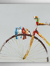 Hand Painted Oil Painting Animal Birds Stay on the Bike with Stretched Frame