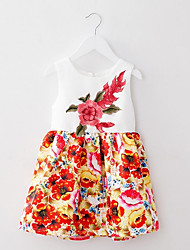 Girl's Multi-color Dress,Floral Cotton / Polyester Summer / Spring