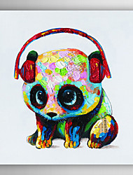 Hand Painted Oil Painting Animal Panda with Headset with Stretched Frame 7 Wall Arts®