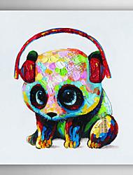 Animal Panda pintura a óleo pintados à mão com fone de ouvido, com quadro esticado arts® 7 parede